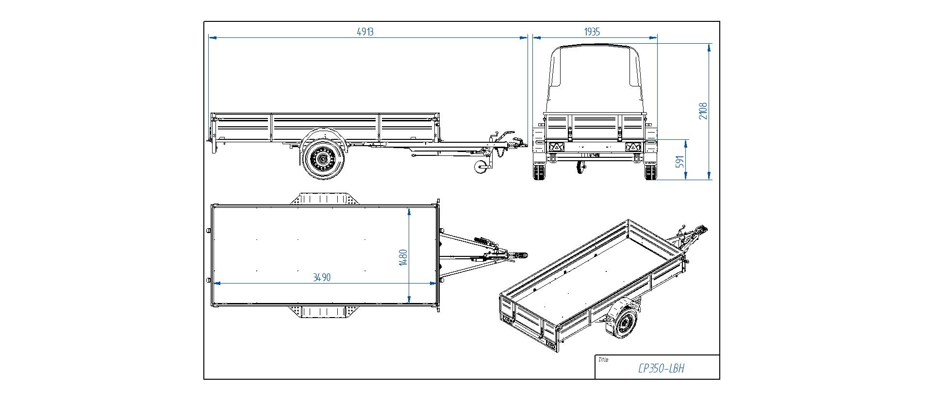 CP350-LBH [Attēli ir informatīvi un piekabes komplektācijā var būt iekļauts papildu aprīkojums]
