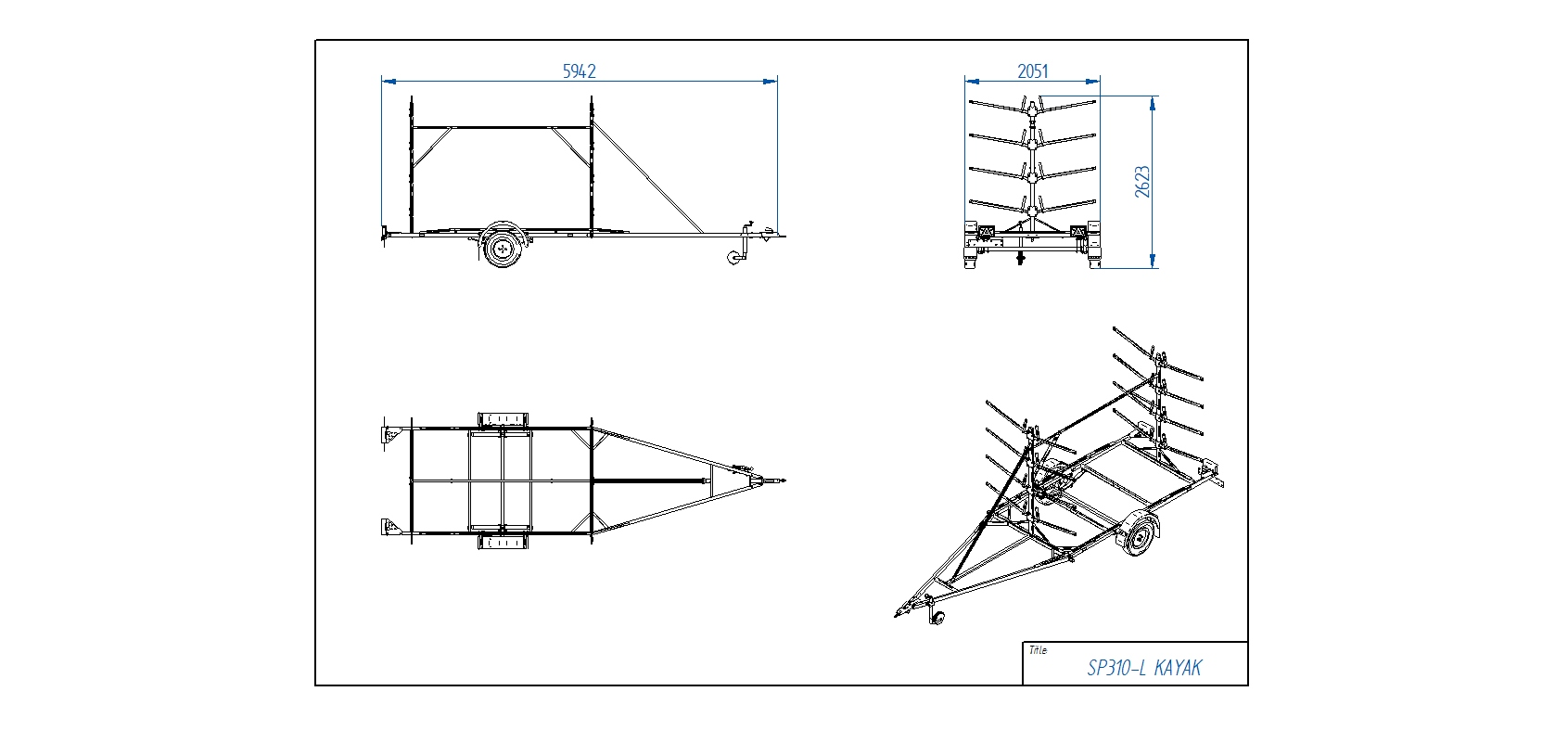 SP310-L KAYAK piekabe Kanoe laivām [Attēli ir informatīvi un piekabes komplektācijā var būt iekļauts papildu aprīkojums]