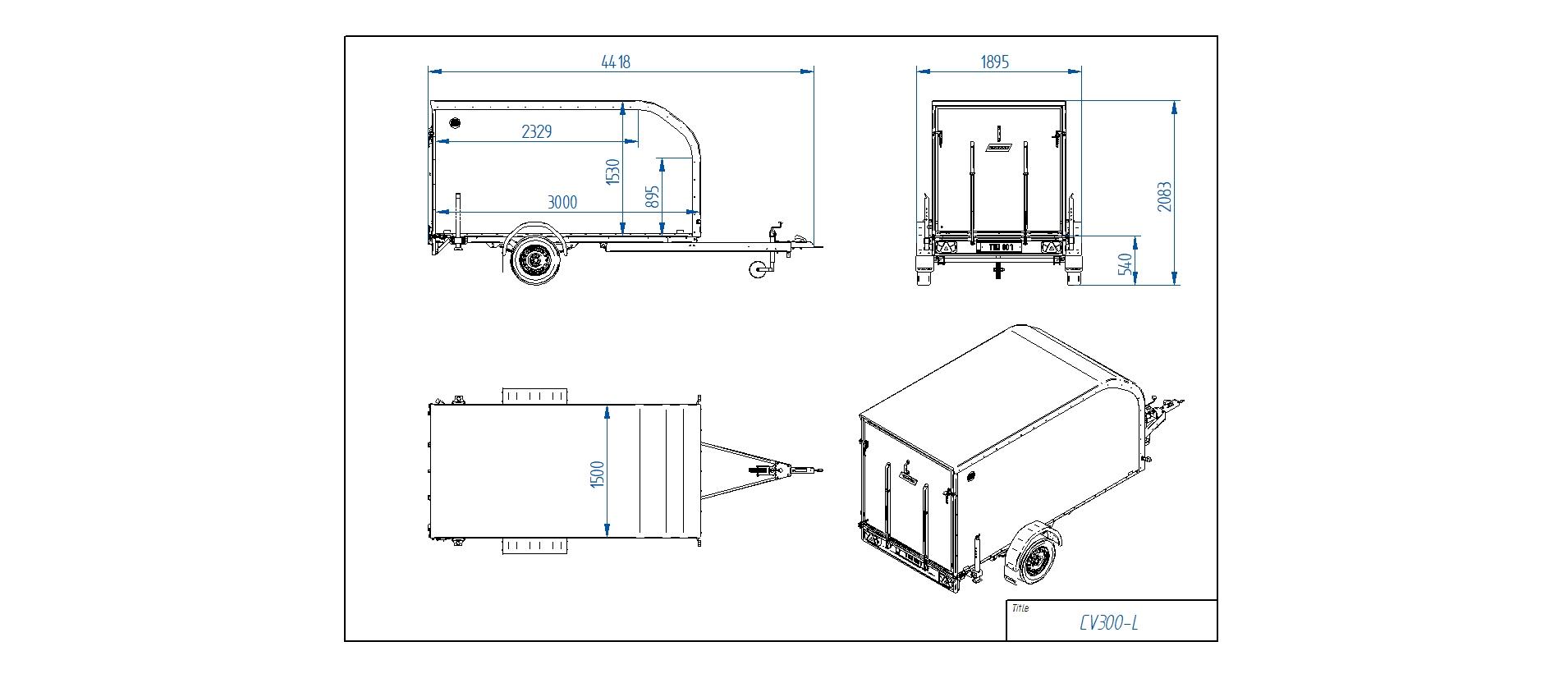 CV300-L Furgona piekabe [Attēli ir informatīvi un piekabes komplektācijā var būt iekļauts papildu aprīkojums]