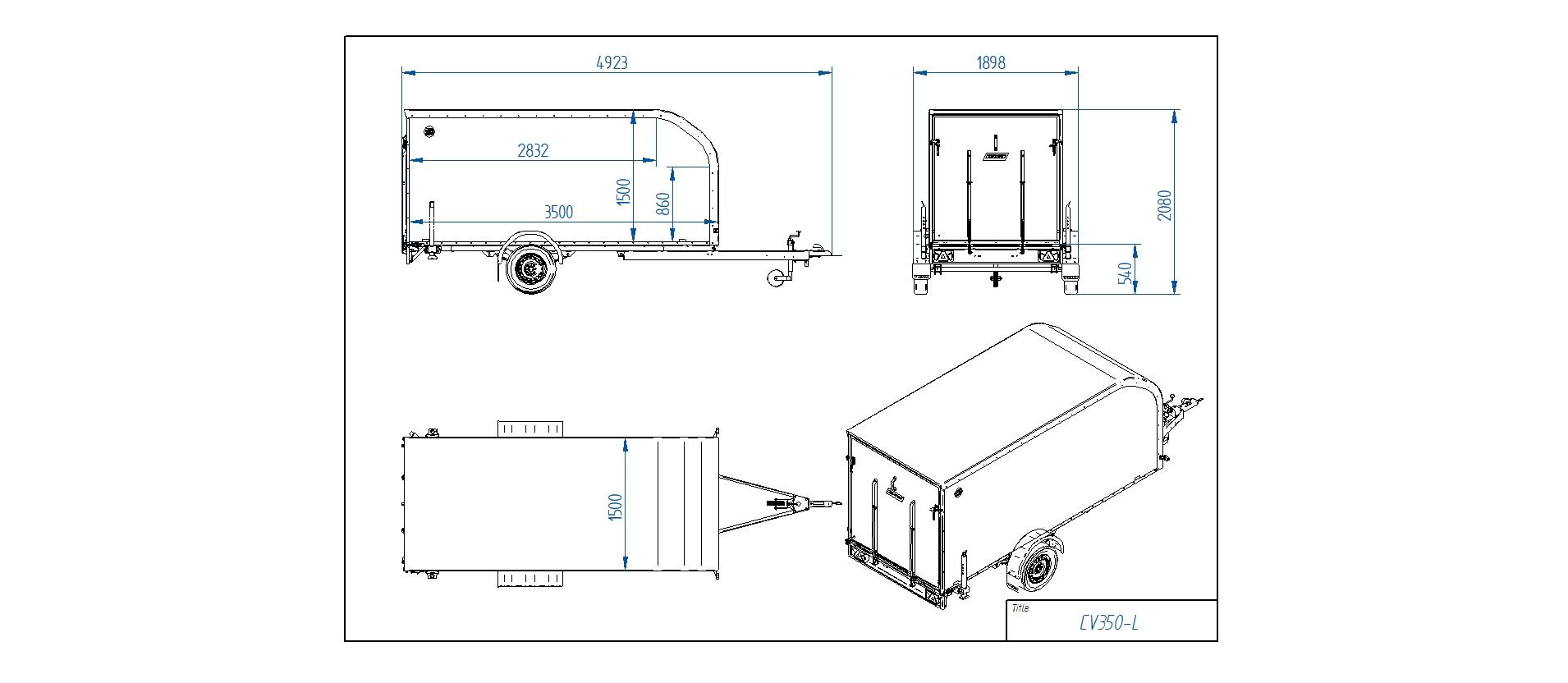 CV350-L Furgona piekabe [Attēli ir informatīvi un piekabes komplektācijā var būt iekļauts papildu aprīkojums]