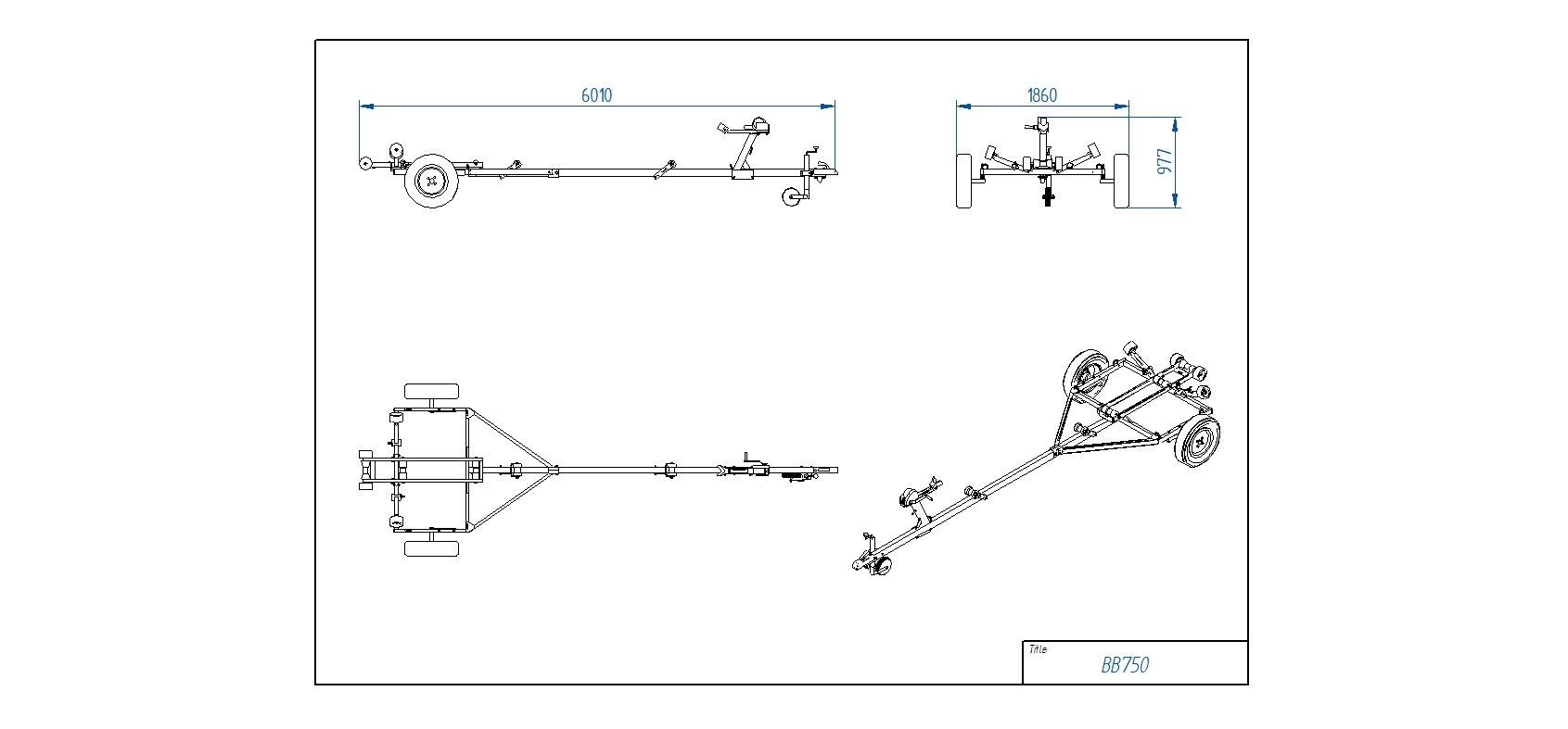 BB750 Pludmales piekabe [Attēli ir informatīvi un piekabes komplektācijā var būt iekļauts papildu aprīkojums]