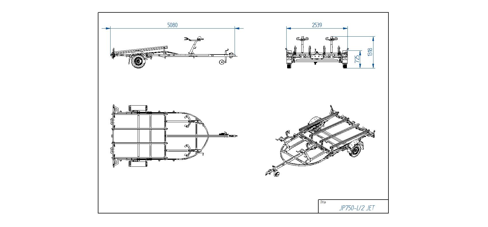 JP750-L 2 JET piekabe  [Attēli ir informatīvi un piekabes komplektācijā var būt iekļauts papildu aprīkojums]